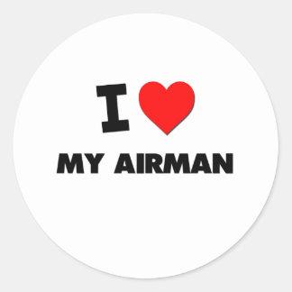 I love My Airman Round Sticker