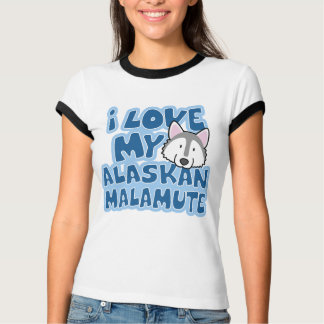 I Love My Alaskan Malamute Ladies Ringer T-Shirt