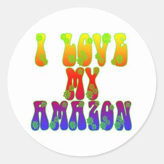 I Love My Amazon Round Sticker