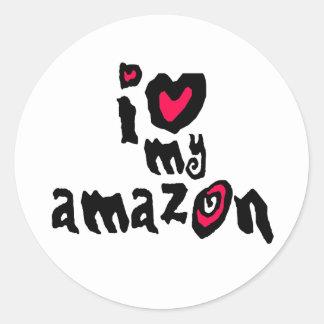 I Love My Amazon Round Stickers