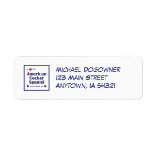 I Love My American Cocker Spaniel (Male Dog) Return Address Label