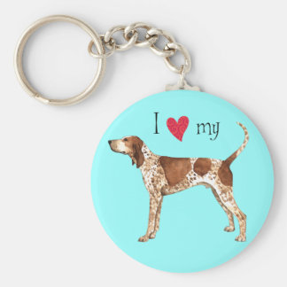 I Love my American English Coonhound Key Ring