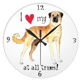I Love my Anatolian Shepherd Dog Large Clock