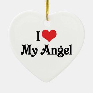 I Love My Angel Ceramic Heart Decoration