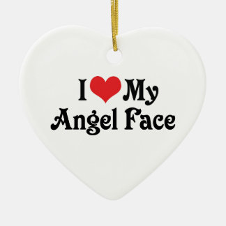 I Love My Angel Face Ceramic Heart Decoration