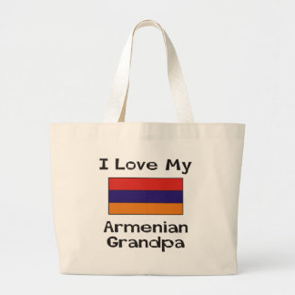 I Love My Armenian Grandpa Large Tote Bag