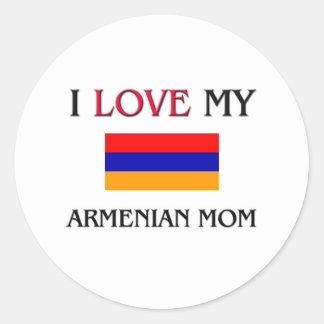 I Love My Armenian Mom Classic Round Sticker