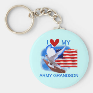 I Love My Army Grandson Tshirts and Gifts Key Ring