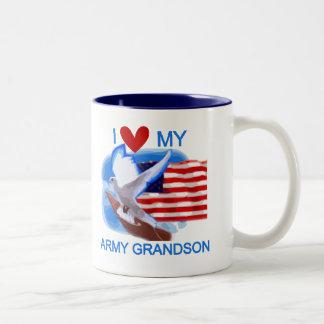 I Love My Army Grandson Tshirts and Gifts Two-Tone Mug