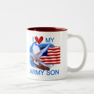 I Love My Army Son Tshirts and Gifts Two-Tone Coffee Mug