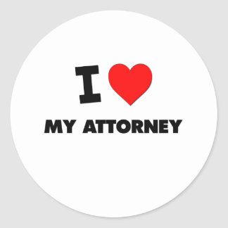 I love My Attorney Round Stickers