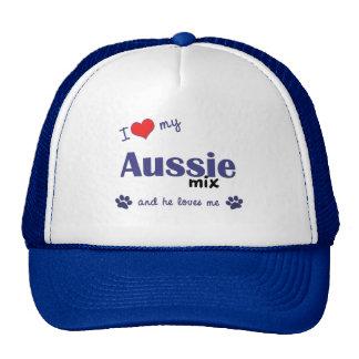 I Love My Aussie Mix (Male Dog) Cap