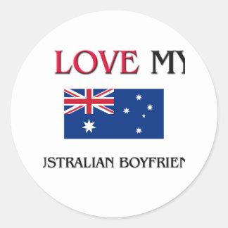 I Love My Australian Boyfriend Classic Round Sticker
