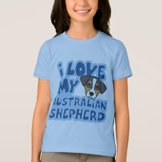 I Love My Australian Shepherd Girl's Ringer TShirt
