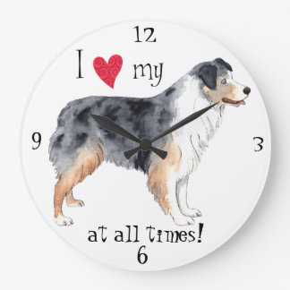 I Love my Australian Shepherd Large Clock