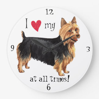 I Love my Australian Terrier Large Clock