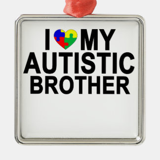 I Love My Autistic Brother '.png Silver-Colored Square Decoration
