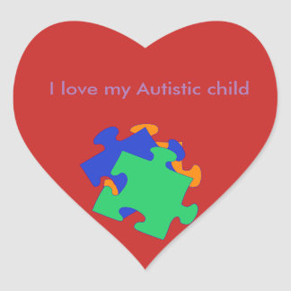 I love my autistic child heart sticker