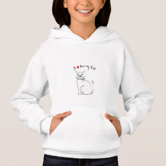 I love my awesome Cat, Cute Girls Hoodie