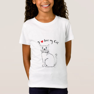 I love my awesome Cat, Cute Girls T-Shirt