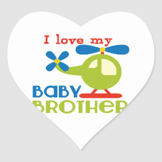 I love my baby brother heart stickers