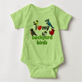 I Love My Backyard Birds Baby Bodysuit