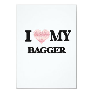 I love my Bagger (Heart Made from Words) 13 Cm X 18 Cm Invitation Card