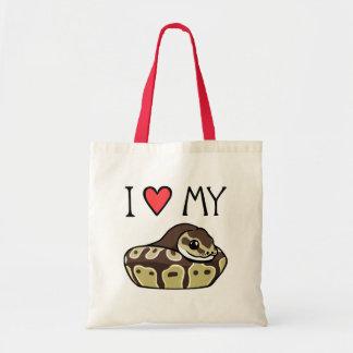 """I Love My Ball Python"" Cute Drawing Tote Bag"