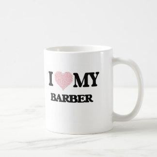 I love my Barber (Heart Made from Words) Basic White Mug