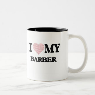 I love my Barber (Heart Made from Words) Two-Tone Mug
