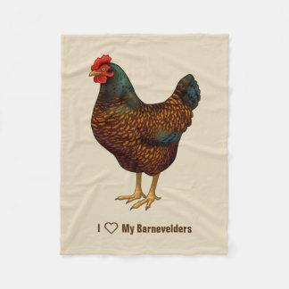 I Love My Barnevelder Chickens Fleece Blanket