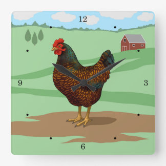 I Love My Barnevelder Chickens Square Wall Clock
