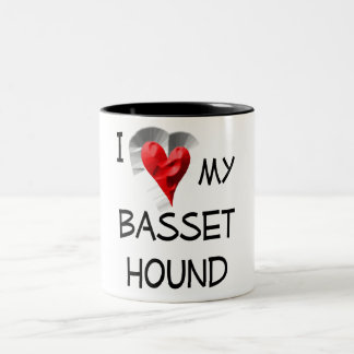 I Love My Basset Hound Two-Tone Mug