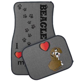 I Love my Beagle Dog Car Mat