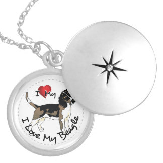I Love My Beagle Dog Silver Plated Necklace