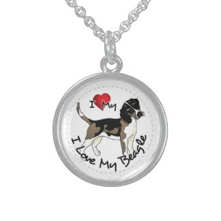 I Love My Beagle Dog Sterling Silver Necklace