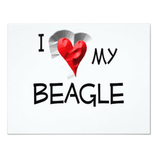 "I Love My Beagle 4.25"" X 5.5"" Invitation Card"