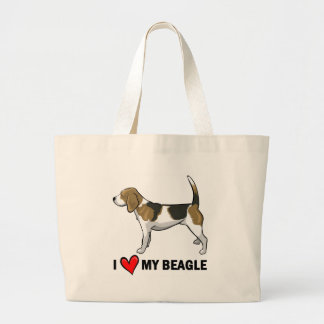 I Love My Beagle Large Tote Bag