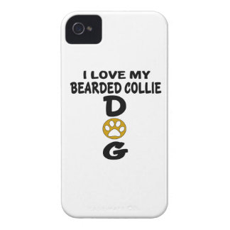 I Love My Bearded Collie Dog Designs iPhone 4 Cases