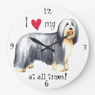 I Love my Bearded Collie Large Clock