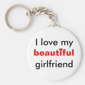I love my beautiful girlfriend basic round button key ring