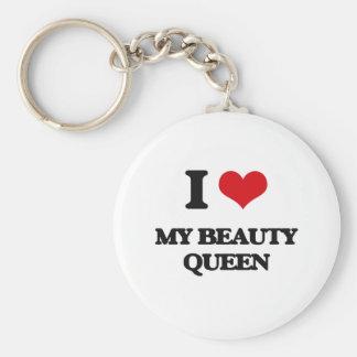I love My Beauty Queen Basic Round Button Keychain