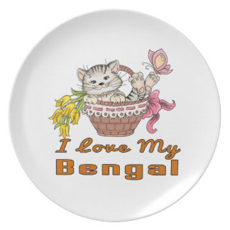 I Love My Bengal Party Plates