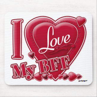 I Love My BFF red - heart Mouse Pad