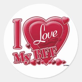 I Love My BFF red - heart Round Sticker