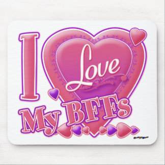 I Love My BFFs pink/purple - hearts Mouse Pad