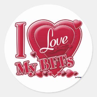 I Love My BFFs red - heart Round Sticker