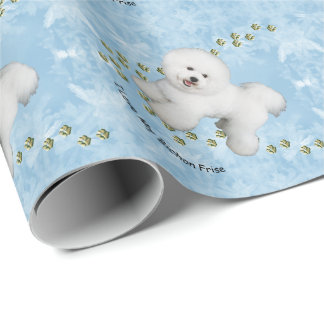 I Love My Bichon Frise on Blue Crystal Wrapping Paper