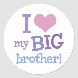 I Love My Big Brother Round Sticker