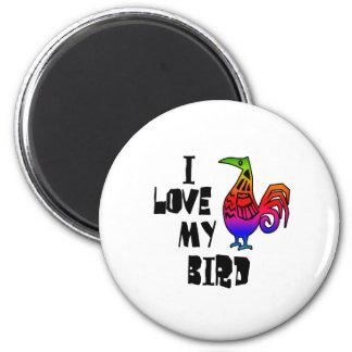 I Love My Bird 6 Cm Round Magnet